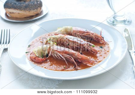 Prawns Wrapped In Zucchini With Bisque Sauce