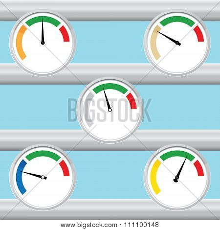 Manometer, barometer flat isolated set. Vector illustration.