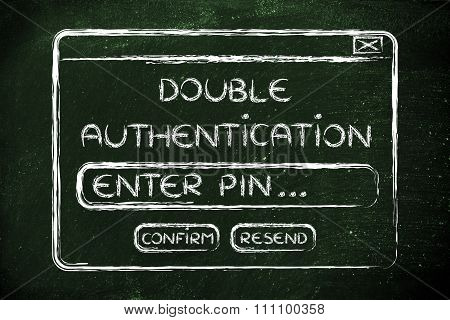 Flat Illustraion Of A Funny Pop-up About Double Authentification