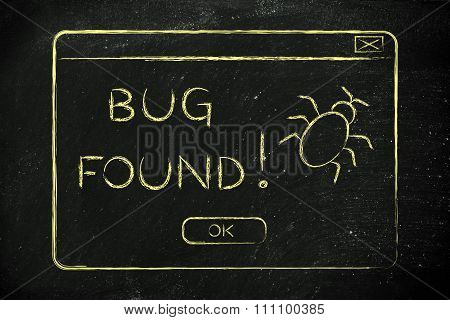 Flat Illustraion Of A Funny Pop-up About A Bug Found