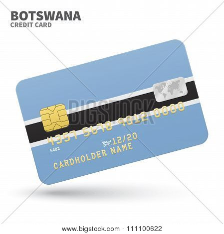 Credit card with Botswana flag background for bank, presentations and business. Isolated on white