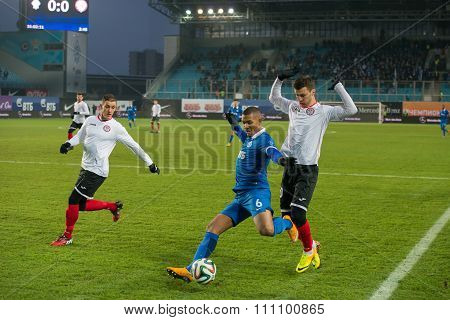 MOSCOW - DECEMBER 7, 2014: Midfielder William Vanker (6) on the football match on Russian Premier League Dynamo (Moscow) vs Amkar (Perm), in Moscow, Russia. Dynamo won 5: 1