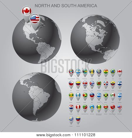 Globes with North and South America with borders of Sovereign states and map marker set with state flags of continents with captions in alphabet order. Vector illustration
