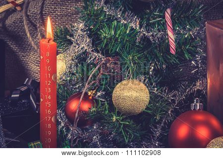 Red Christmas Candle With A Calendar