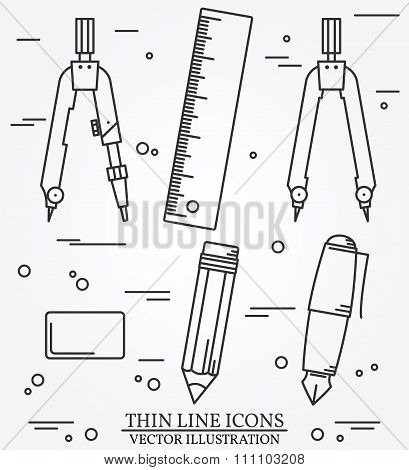 Drawing Tools Thin Line Icon Set For Web And Mobile. Set Includes- Pair Of Compasses, Ruler