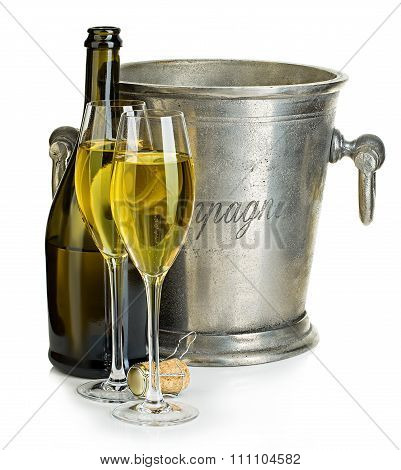 Champagne Bottle With Bucket Ice And Glasses Of Champagne, Isolated On White.