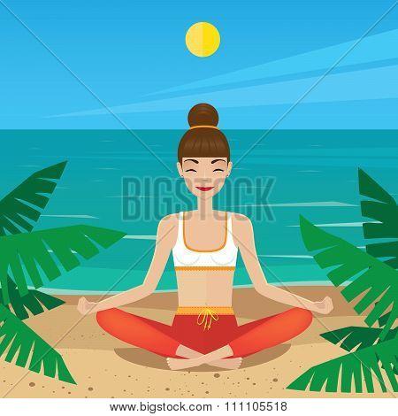Girl Sitting In Yoga Pose Padmasana On The Beach