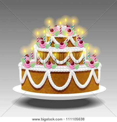 Birthday cake with lights Suspended in the air on white background. Vector illustration