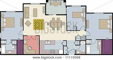 Three-bedroom floor plan