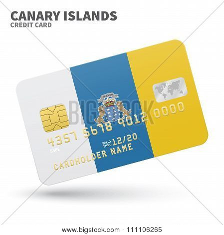 Credit card with Canary Islands flag background for bank, presentations and business. Isolated on wh