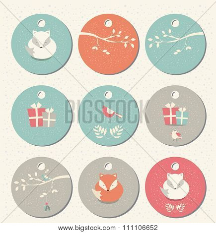Collection Of 9 Round Christmas And New Year Gift Tags With Foxes, Birds And Branches