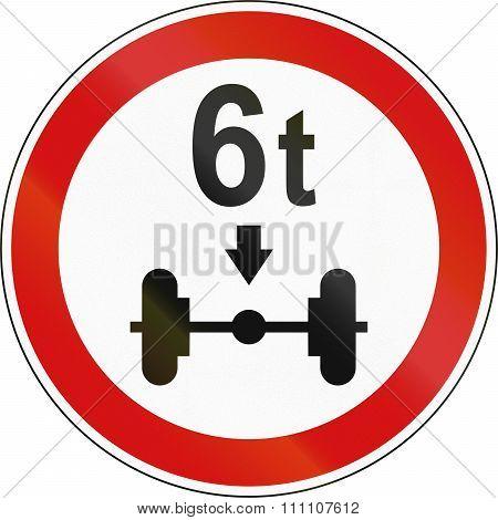 Slovenian Regulatory Road Sign - Axle Load Limit