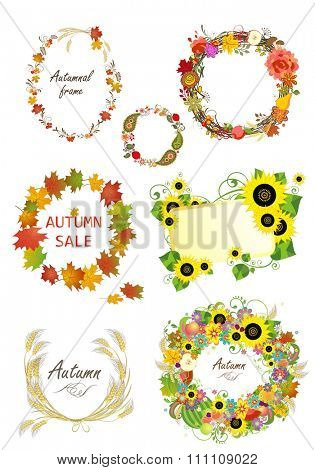 Autumnal frames and design elements