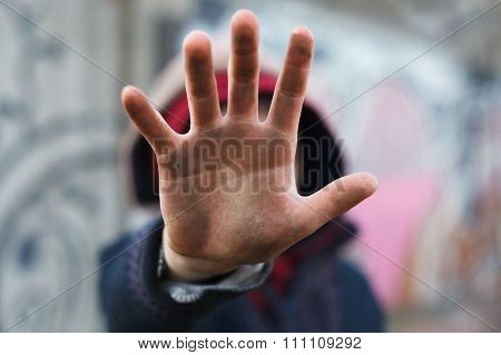 Dramatic Portrait Of A Little Homeless Boy, Dirty Hand