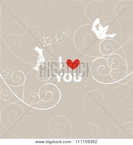 Wedding pastel card with pair of lovely birds