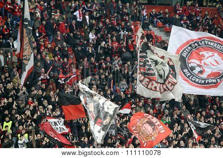Bayer Fans Celebrating For Their Team During The Match Of The Champions League  Bayer 04 Leverkusen