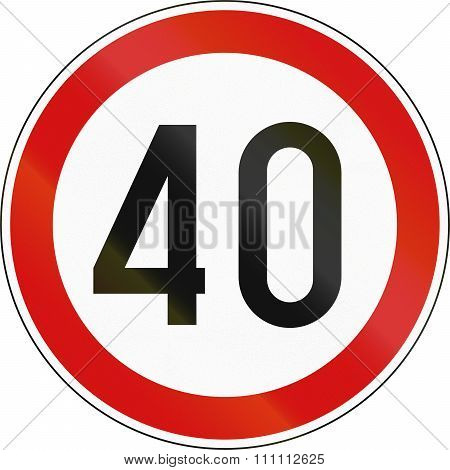 Road Sign In Slovenia - 40 Kph Speed Limit Sign In Slovenia
