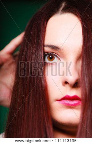 Beauty Terrified Woman Face.