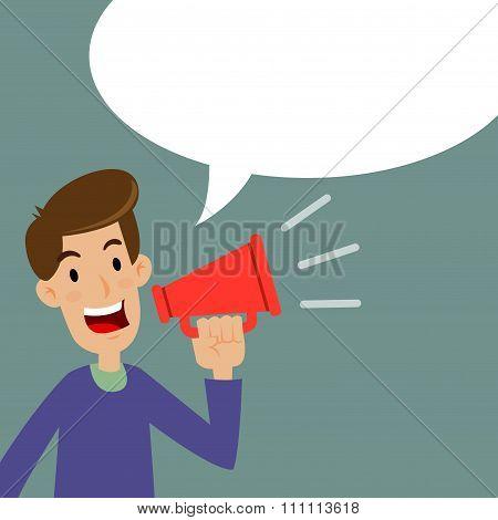 Man Holding A Loud Speaker