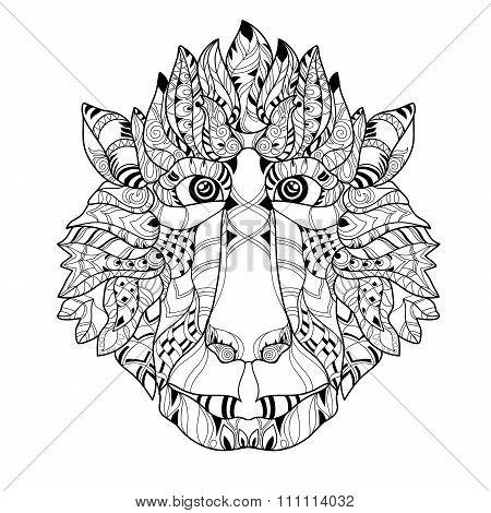 Zentangle  monkey head doodle. Hand drawn vector.