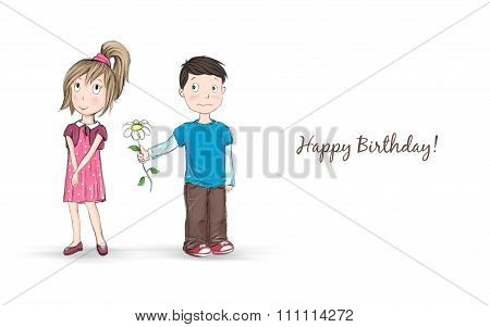 Sketchy cartoon illustration of a shy boy giving a flower to a pretty girl