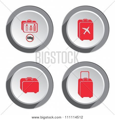 Airport baggage icon set.  Hand luggage for traveling. Info symbol. Red icons on white-gray 3d butto