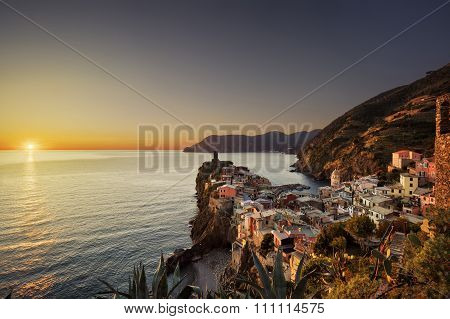 Vernazza Village, Aerial View On Red Sunset. Cinque Terre, Ligury, Italy