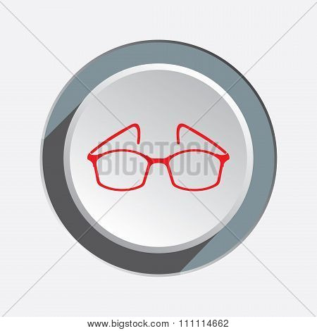 Eye glasses. Optical glass appliance for vision. Red silhouette on round three-dimensional button wi