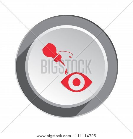 Medical icon. Optical vision symbol of health and medicine. Round three-dimensional button with shad