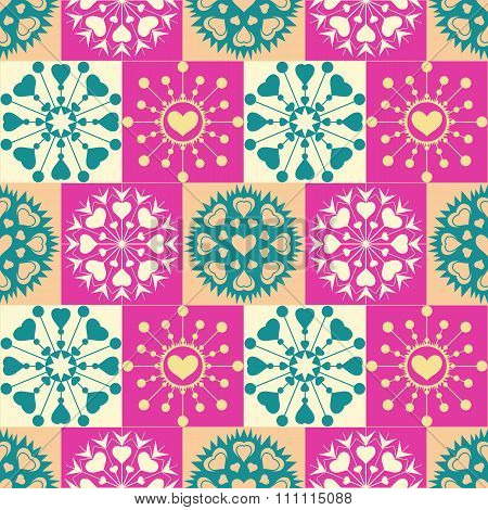 Christmas seamless pattern of heart snowflakes. New Year, Valentine day, birthday texture. Gold, mag