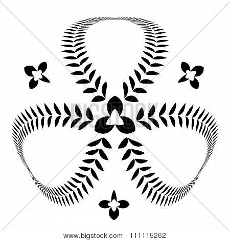 Laurel wreath tattoo. Clover, trefoil view sign. Stylized composition of leaves. Defense, belief, gl
