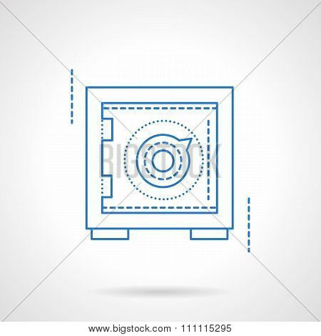 Safety deposit box blue flat line vector icon