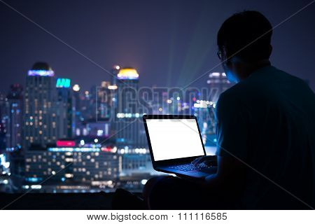 working place at night. conceptual of night city and business, finance and working place.