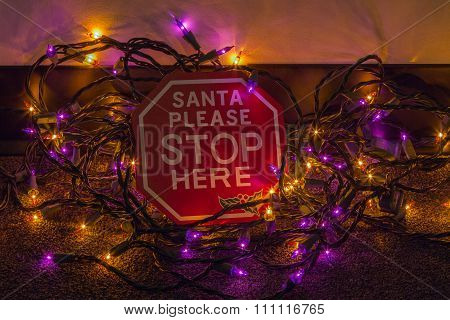 Santa Please Stop Here Sign with Christmas Lights