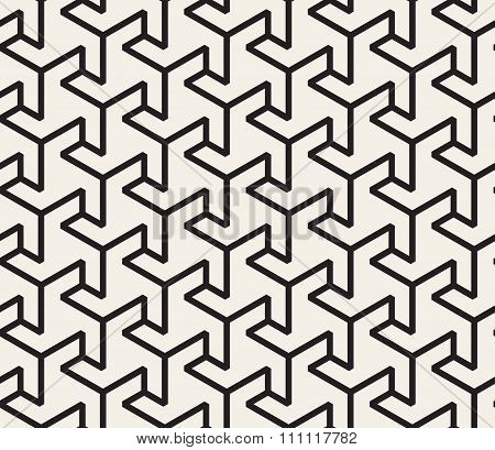 Vector Seamless Black And White  Geometric Triangle Shape Tessellation Line Pattern