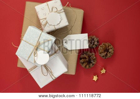 Christmas Gift Boxes Top View And Label Template