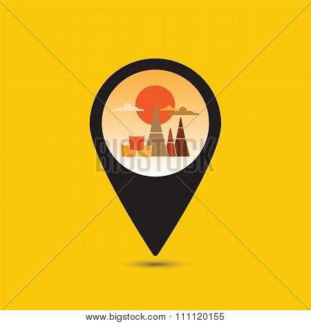 Map Pointer Thailand Temple Icon