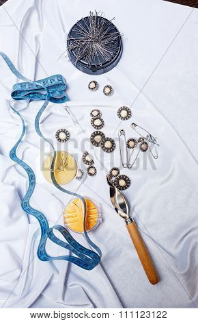 Button Closing, Pins, Needles, Tape Measure. Crafts .