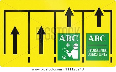Slovenian Road Sign - Select Toll Collection Lanes