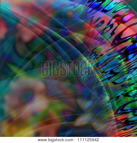 Abstract Bent Shapes, Misty Flowers dark Background