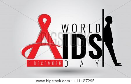 World AIDS day - vector sign symbol. 1 December. HIV