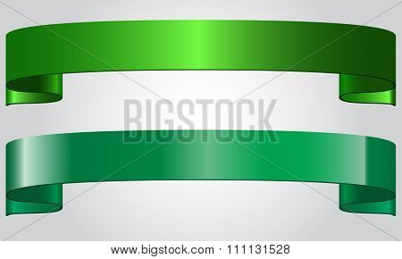 Green shining ribbons vector illustration