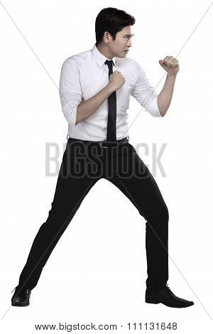 Man In White Shirt Doing Fighting Stance
