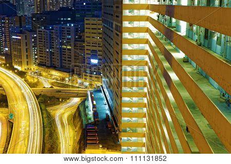 busy traffic night in finance urban, hong kong city