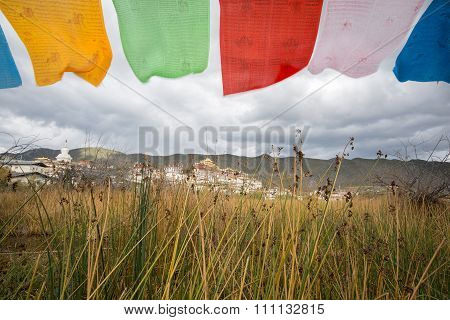 Tibetan Buddhist Monastery With Flag Foreground