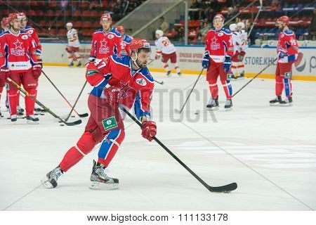 MOSCOW - MARCH 19, 2015: Alexander Radulov (47) in action on hockey game Yokerit vs CSKA on Russia KHL championship in the sports complex CSKA Moscow, Russia. CSKA won 4: 2
