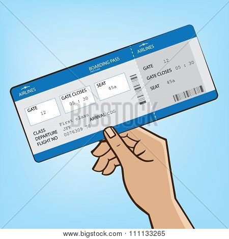 Outstretched Hand With Airplane Ticket