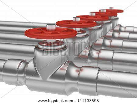 Steel Pipes Series With Red Valves, Small Dof