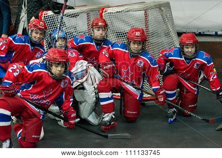 MOSCOW - MARCH 19, 2015: Unidentified young hockey players on hockey game Yokerit vs CSKA on Russia KHL championship in the sports complex CSKA Moscow, Russia. CSKA won 4: 2