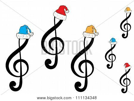 Seamless Christmas treble clefs